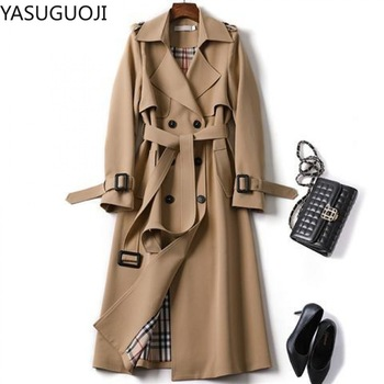 YASUGUOJI 2020 Spring Classic Casual Office Lady Double Breasted Long Trench Coat with Belt Women Business Female Windbreaker