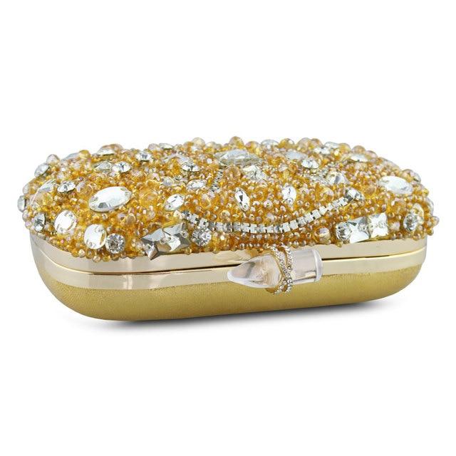 Chaliwini torebki damskie złoty kryształ torebka wieczorowa metalowe saszetki srebrne zroszony ślubne pudełko ślubne kopertówki Bolsos Mujer