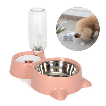 Dog Bowl 2 In 1 PP Stainless Steel Automatic Water Dispenser Feeder Non-Slip Pet Dog Cat Drinker Cute Pet Food Container Hot