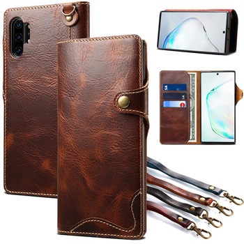 Wallet Case For Samsung Galaxy Note 20 Ultra S20 Plus S8 S9 S10E S10 5G Note 10 8 9 Genuine Leather Flip Cover Wrist strap Case