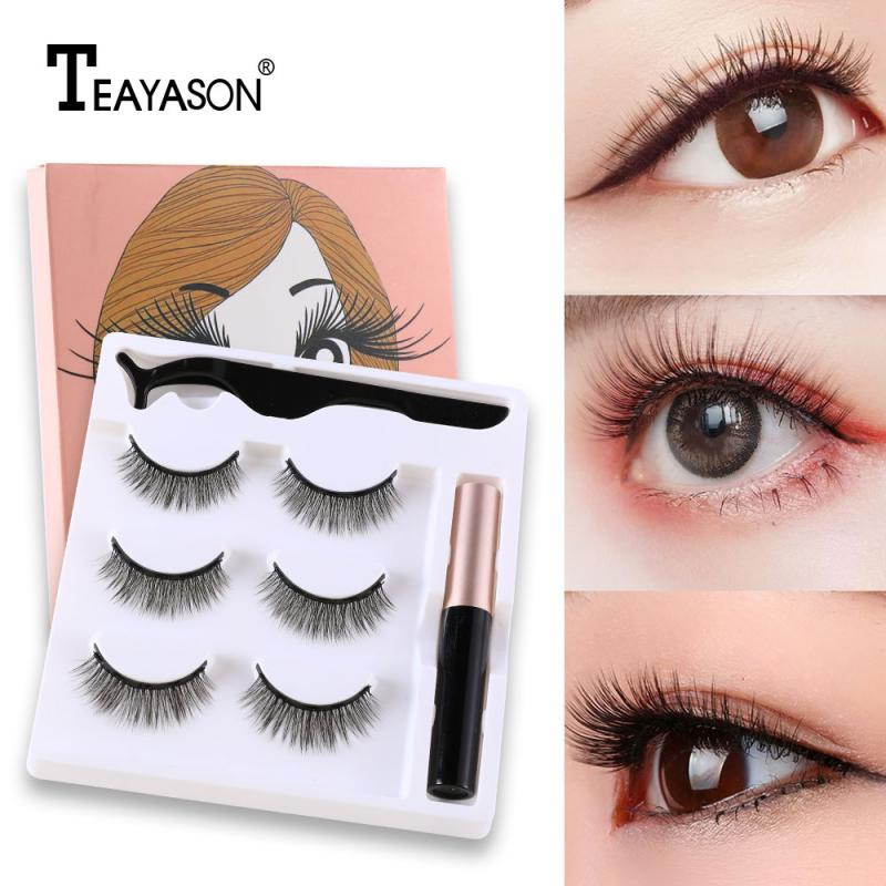 <font><b>Magnetic</b></font> <font><b>Eyelashes</b></font> Three Pairs 3D <font><b>Magnetic</b></font> <font><b>Eyeliner</b></font> Liquid False <font><b>Eyelashes</b></font> <font><b>Set</b></font> Magnet <font><b>Eyelashes</b></font> Waterproof Liquid Tweezers <font><b>Set</b></font> image