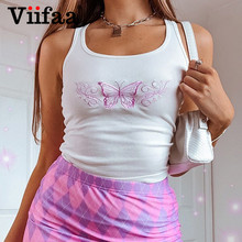 Viifaa Square Neck Knitted White Vests Butterfly Embroidery Tank Top