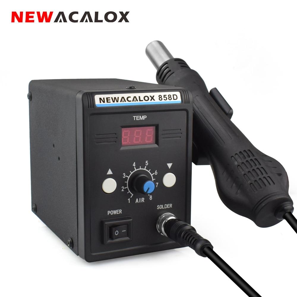 NEWACALOX EU 220V 700W Soldering Station BGA SMD Rework Desoldering  Hot Air Gun Blow Dryer  Heat Gun Welding Repair Tool Set