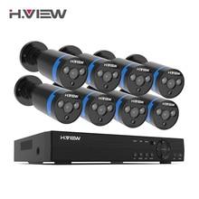 H.View 16 kanałowy System nadzoru 8 1080P zewnętrzna kamera bezpieczeństwa 16 kanałowy zestaw CCTV DVR nadzór wideo iPhone Android zdalny widok