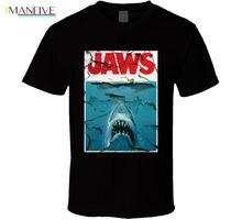 цена на Jaws Shark Movie 80s Steven Spielberg Retro T Shirt Many Colors Gift Newest  Fashion Stranger Things T-Shirt Men