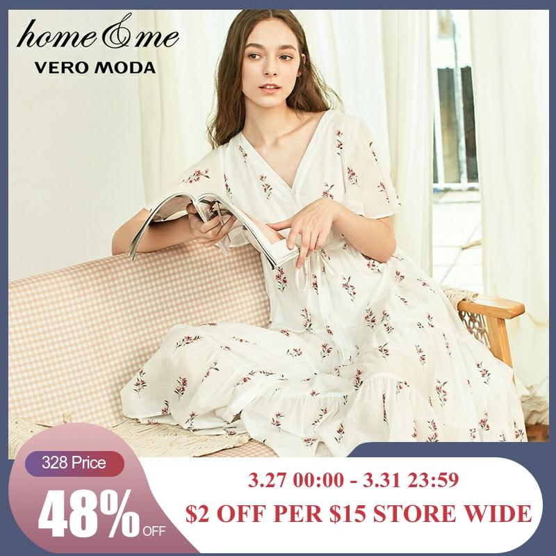 Vero Moda New Arrivals Floral 100% Cotton Night Dress Homewear Dress | 31917B507