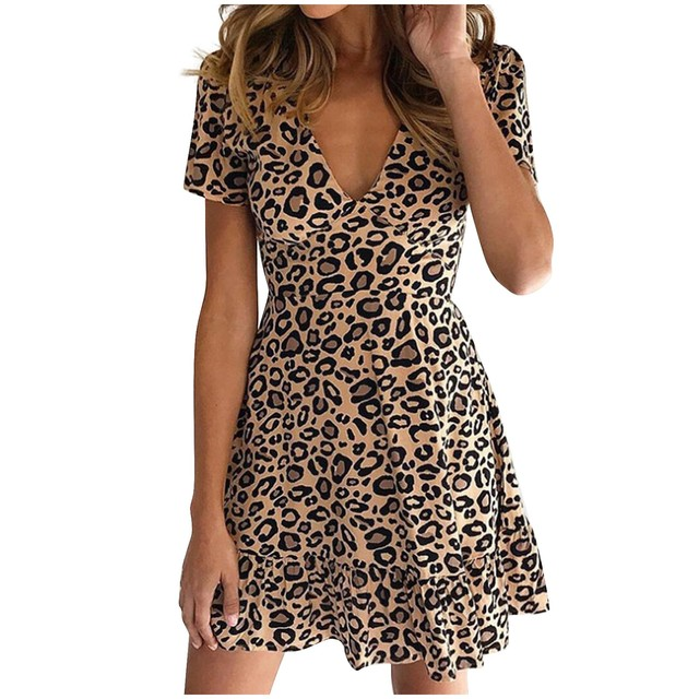 New women's dress fashion sexy V-neck leopard print short sleeve dress different colors available new платье женское 50* 9
