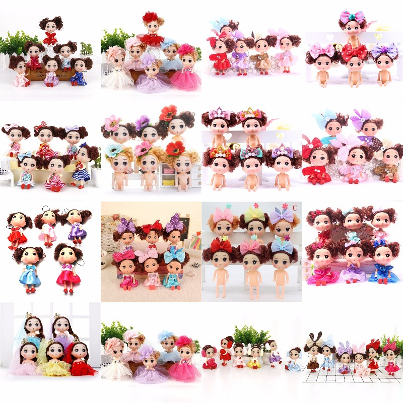Multi Styles 12CM Fashion Princess Doll Wedding Dress Girl Doll Key Chain Pretand Toy Gift For Kids Children Random Color