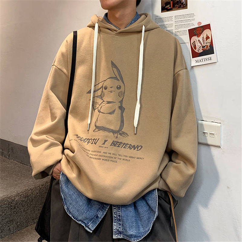 Pokemon Men Cartoon Printed Pikachu Hoodie Kawaii Sweatshirt Pullover Hooded Harajuku Style Kpop Sticker Comic Animal Hoodies