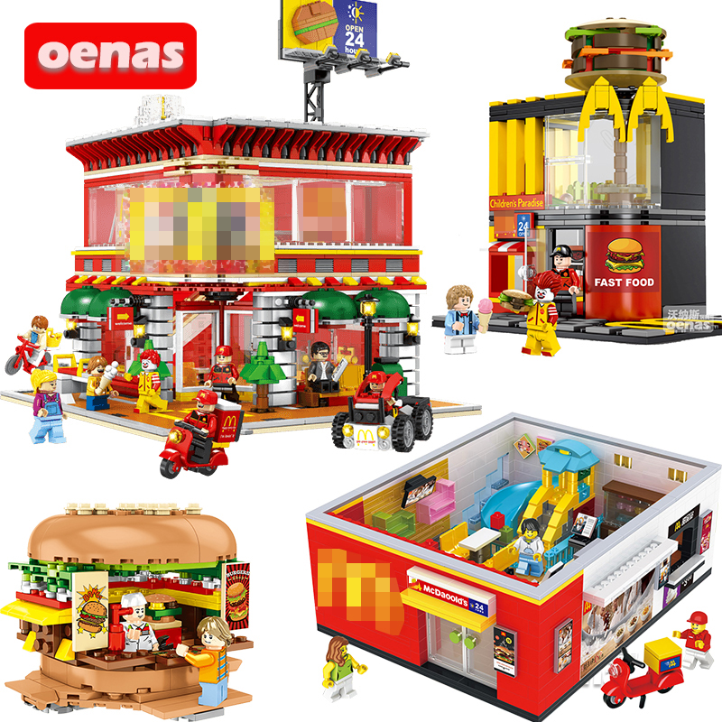 City Street View Compatible Coffee Ice Cream Burger Shop Mc Fast Food Store Assembled Building Block Brick Kid Toy Birthday Gift