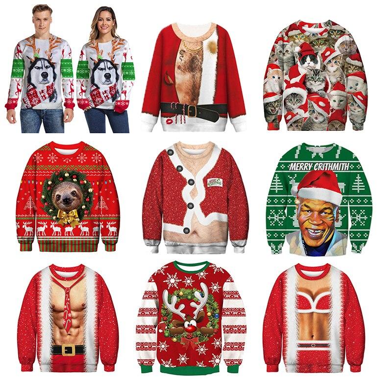 Men's Sweater Pull Homme Ugly Christmas Sweater Santa Claus 3d Loose Hoodie Men Women Christmas Sweater Men Pull Noel Homme