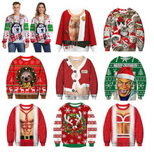 Men's sweater pull homme Ugly Christmas Sweater Santa Claus 3d Loose Hoodie Men Women christmas sweater men pull noel homme(China)