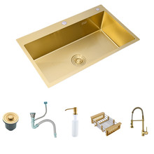 Dissipadores de cozinha de ouro escovado acima do contador ou udermount dissipadores de bacia de lavagem vegetal 304 aço inoxidável única tigela 68x45cm