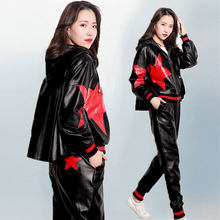 Leather Jacket Loose Large Size Fashion Women's Short Coat Autumn Casual Sheepskin Hooded Cloak Top Pants Two-piece Set Women 81(China)