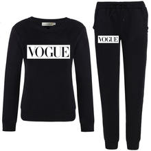 Autumn Winter Women Set VOGUE Letter Print Sweatshirt+Pants Long Sleeve Tracksuits Two Piece Suit Sportswear Outfit XXL(China)