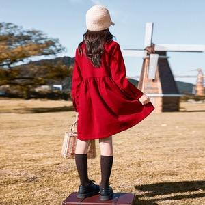 Image 4 - Robe dautomne pour filles, tenue de princesse tricotée, en coton, à col roulé, pour enfants, superbe collection 2020, #5673