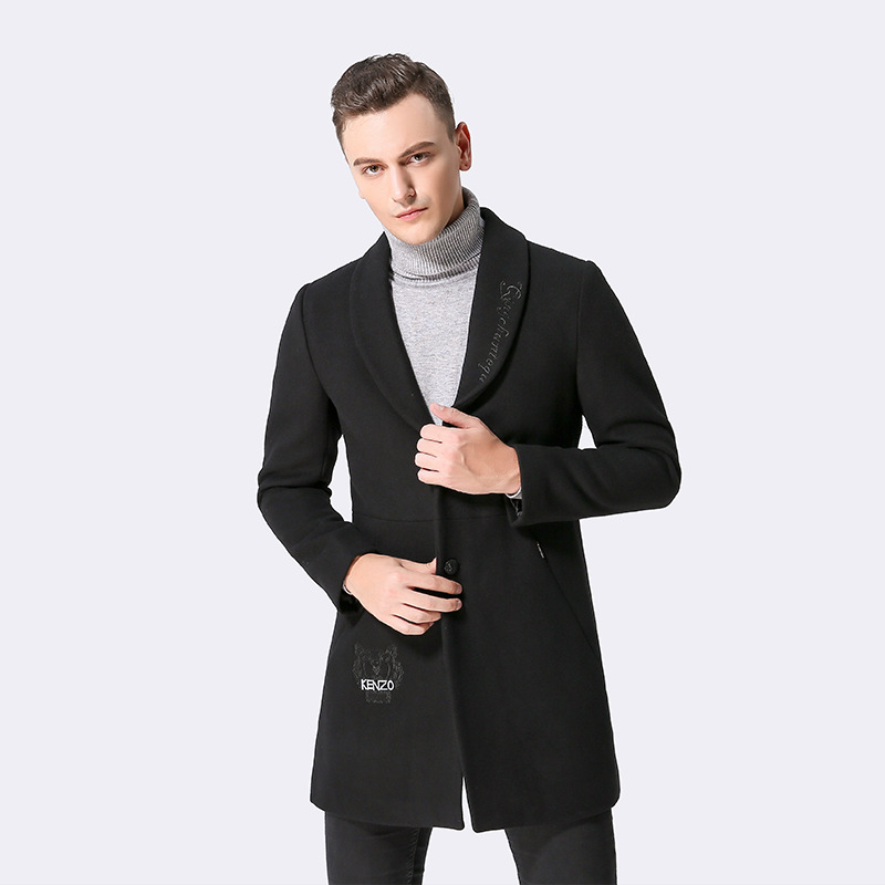 Man Black Woolen Coat 2020 Autumn Winter Fashion Korean Men's Jackets Overcoat Abrigo Hombre KJ260