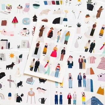 8 แผ่น/Pack Town Life Washi สติกเกอร์กระดาษโน๊ตบุ๊คคอมพิวเตอร์โทรศัพท์ DIY สติกเกอร์ตกแต่ง