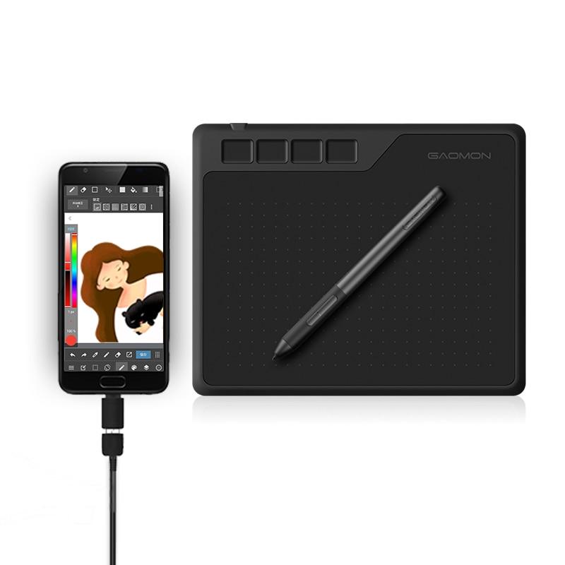 GAOMON S620 Tablette Graphique 6,5x4 Pouces de Sensibilité à la Pression de Niveau 8192 avec Stylet Passif et 4 Touches de raccourcis pour Dessiner et Jouer OSU