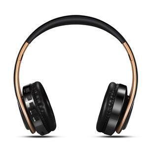 Image 4 - Nowy przyjazd!! W kolorze błyszczącego złota kolory słuchawki Bluetooth bezprzewodowe słuchawki stereo słuchawki douszne z mikrofonem/kartą TF