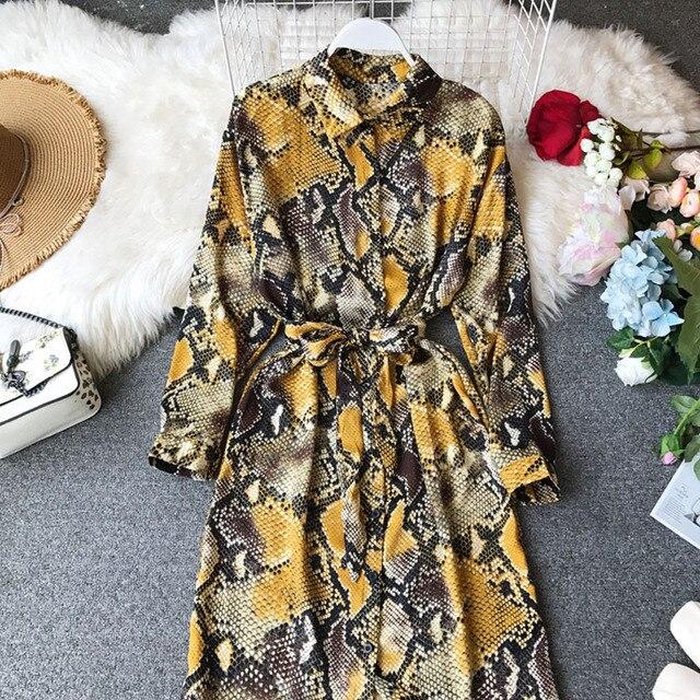 2020 printemps été femmes Chic motif de serpent robe à manches longues nouveau ample mince marée chemise robe longue dentelle robe femme WA407