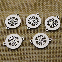 5pcs/lot 15x20mm Stainless Steel Life Tree Charms Fit Bracelet Connector Charm Bracelet Necklace for DIY Handmade Jewelry Making
