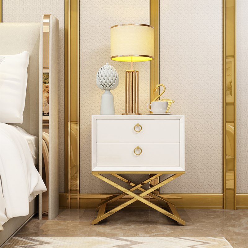 Home Furniture Modern Gold Stainless Steel Frame Wood Luxury Nighstand Bedside Table