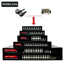 52V Poe Switch Ethernet 24 Porte di Rete 10/100Mbps Porte Ieee 802.3 Af/a Ip Della Macchina Fotografica di Rete Wireless Ap Interruttore Costruito in Alimentazione