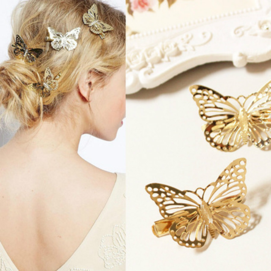 Fashion Hollow Golden Butterfly Hair Clip Hair Styling Tools Plastic Magic Topsy Hair Tools Braids Ponytail Hair Style Twister