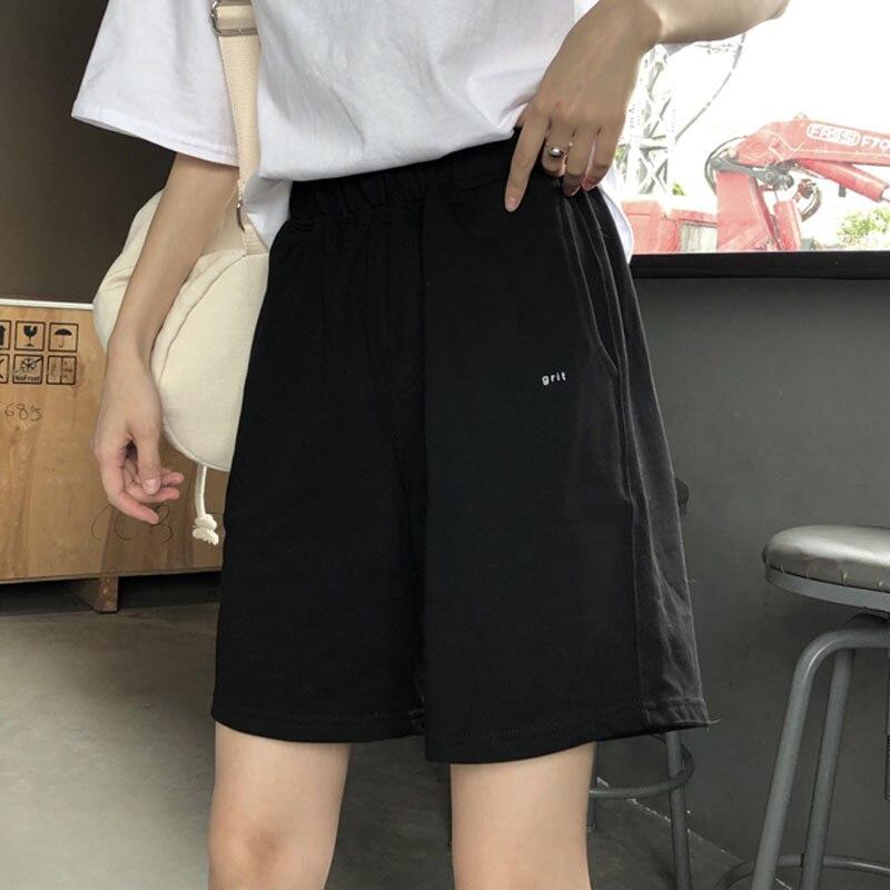 Black Pants Broad-Legged-Pants Five-Point-Pants Loose Korean-Version High-Waist Summer