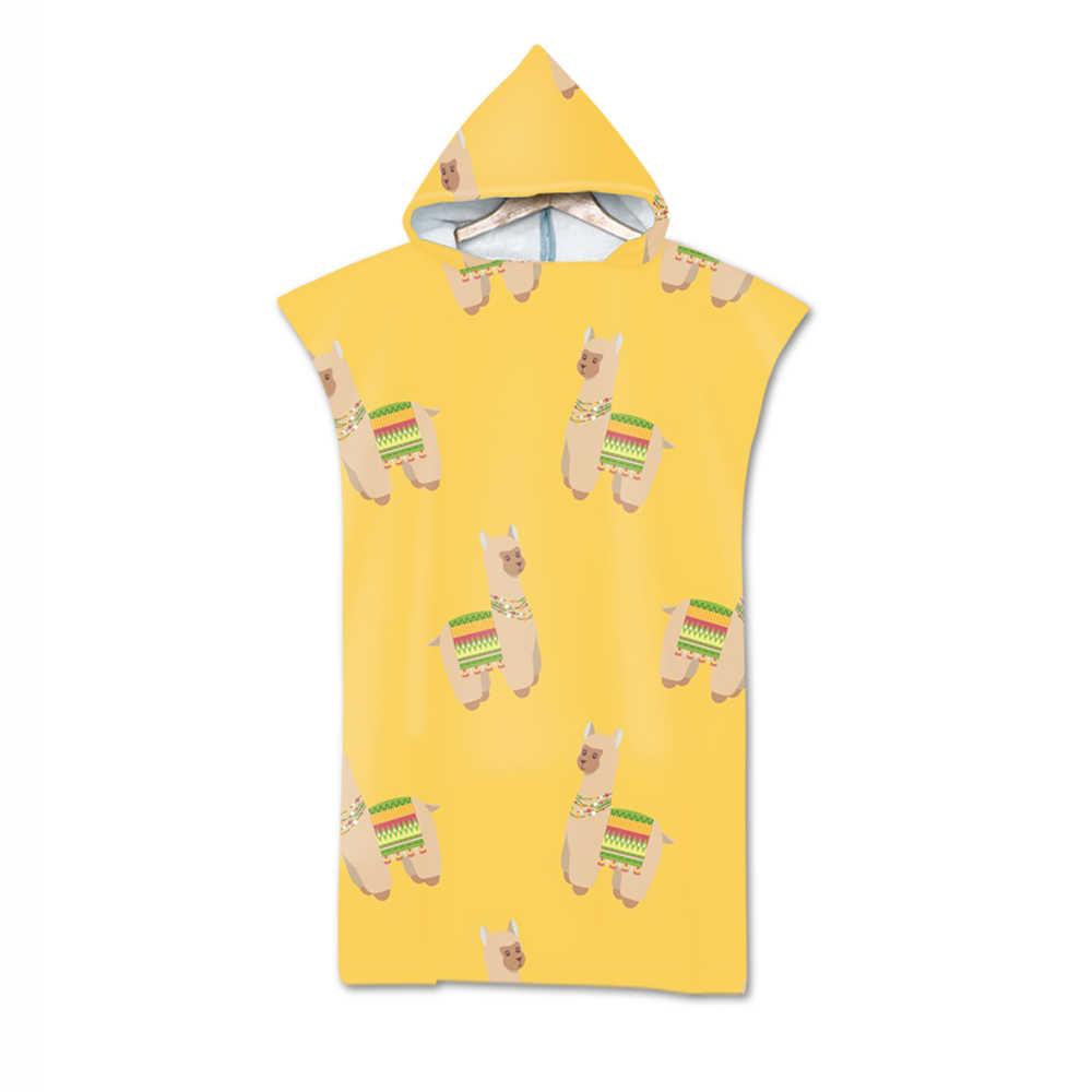 デジタル印刷アルパカローブバスタオル屋外大人のフード付きビーチタオルポンチョ浴衣タオル女性男バスローブ aHT32