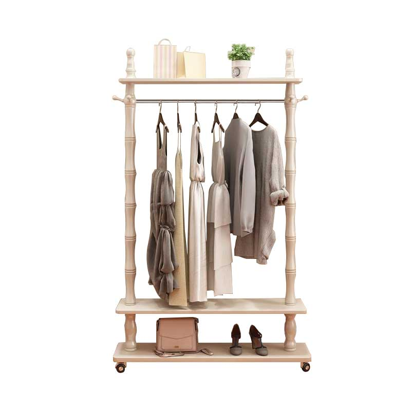Solid Wood Clothes Rack Drying Rack European Landing Home Modern Minimalist Bedroom Clothes Rack Living Room