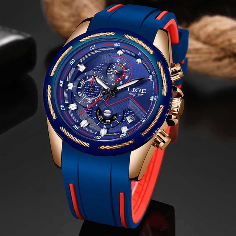 LIGE Casual Sport Watches for Men Blue Top Brand Luxury Military Waterproof Wrist Watch Man Clock Fashion Chronograph Wristwatch