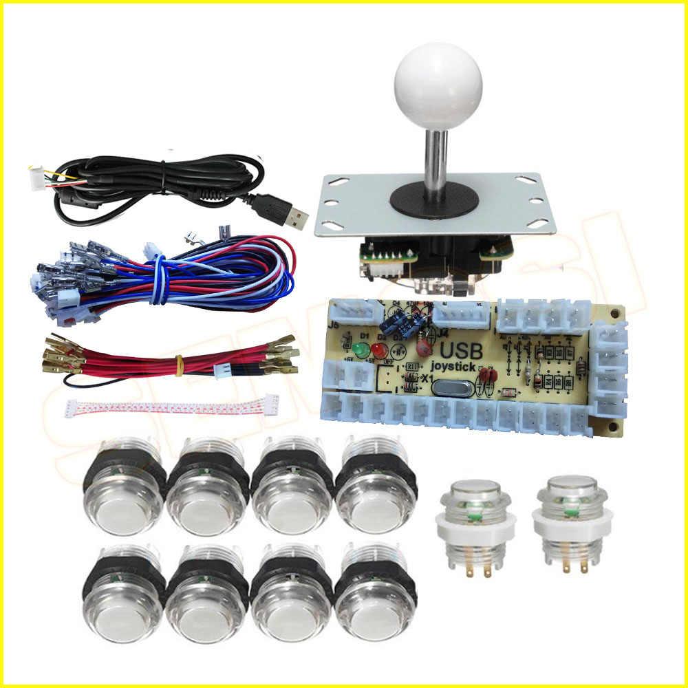 Na 2-2 graczy DIY drążek arkadowy zestawy z 20 LED zręcznościowa przycisk + 2 5pin joysticki + 2 USB enkodera dla SP3 zestaw do samodzielnego montażu