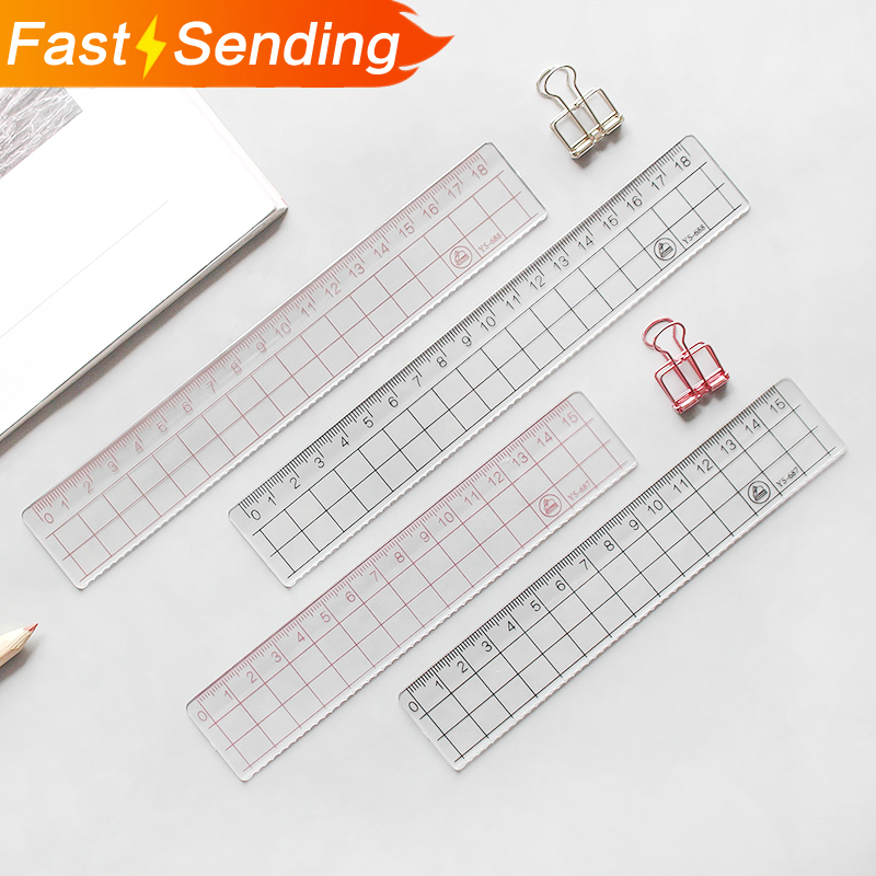 JIANWU 2pcs 15cm 18cm 20cm Transparent Simple Ruler Acrylic Ruler   Learn Stationery Drawing Supplies