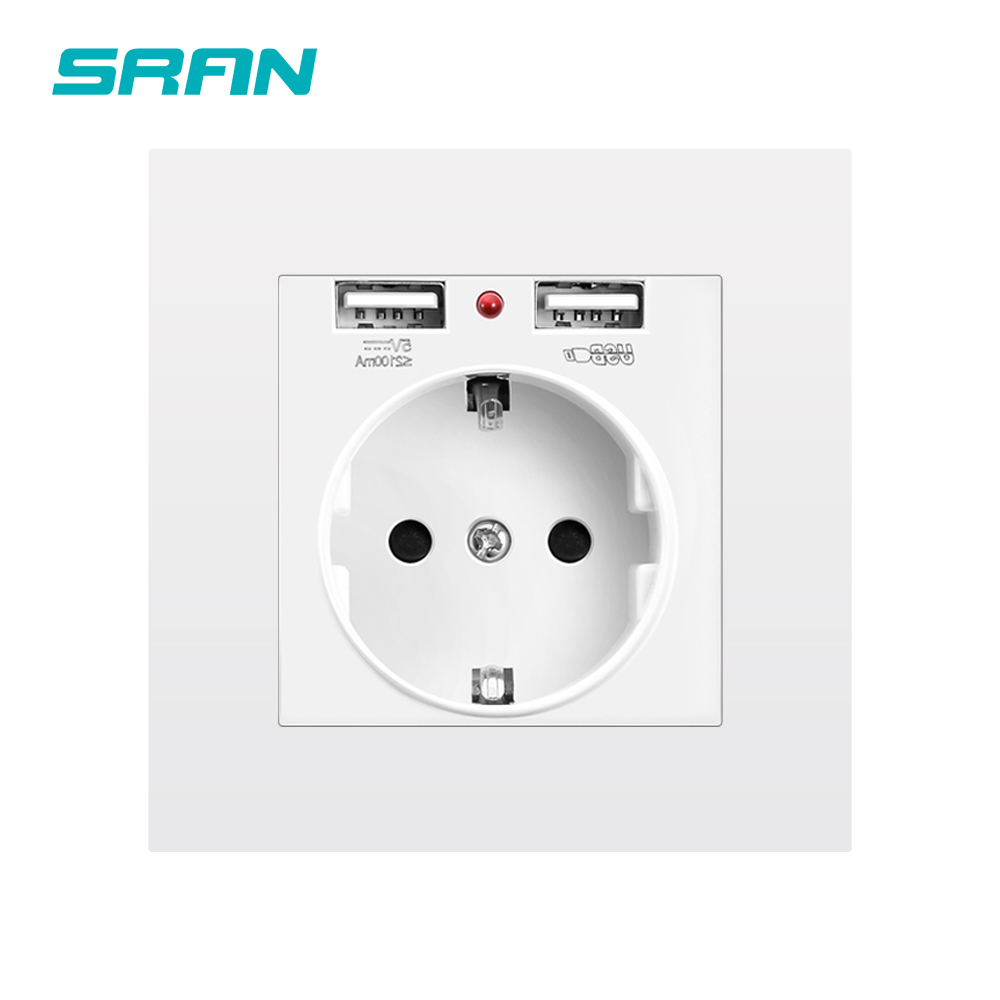 Ultimate SaleSRAN EU power socket ,socket with usb charging port 2.1A 16A white PC Panel 86mm*86mm Russia Spain Wall Socket