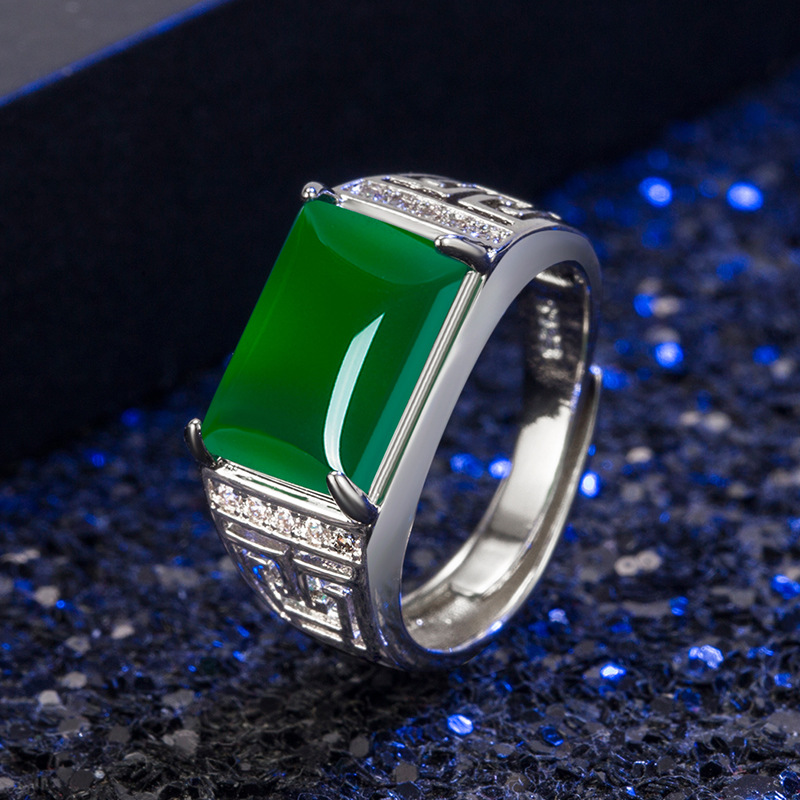 Real Grade A Natural Green Jade Rings Men Open 925 Silver Wedding Party Man Ring Vintage Ethnic Gemstone Fine Jewelry Drop Ship