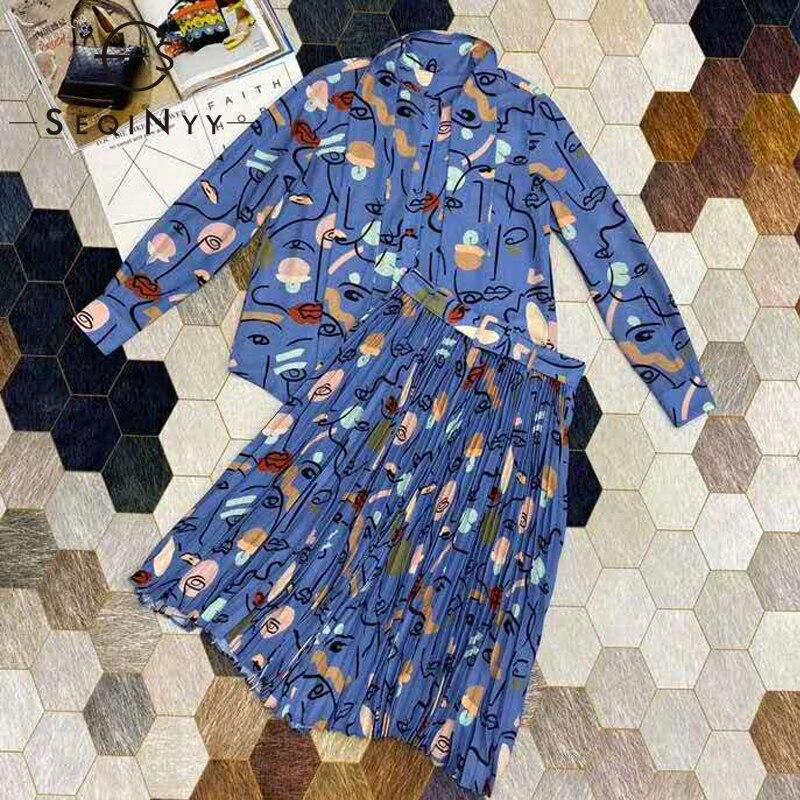 SEQINYY Women Set 2020 Summer Spring New Fashion Design Shirt + Pleated Knee Skirt Cartoon Print Casual Suit