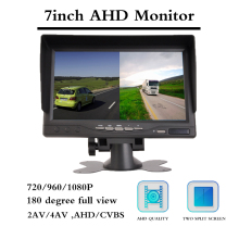 7 Inch Car Camera Reversing Display 2 Split Screen Aviation Head Remote Control 12-24V Waterproof Construction Vehicle
