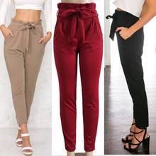 Pantalon en mousseline de soie pour femmes, slim, Long, taille haute, pantalon crayon, extensible, noir, rouge, kaki