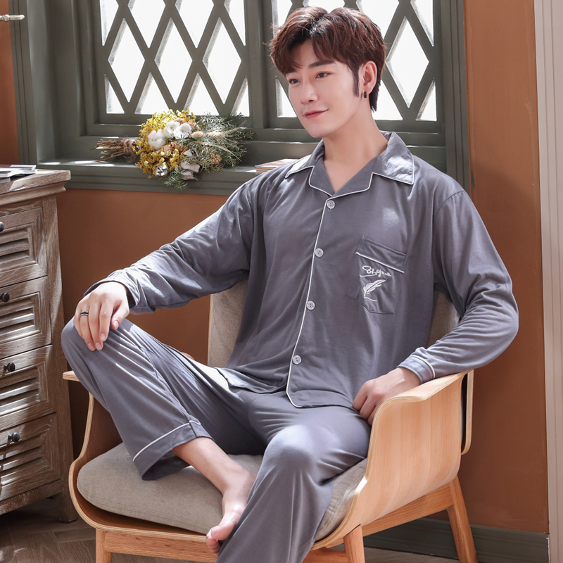 2018 Autumn Winter Cotton Pajamas Sets For Men Long Sleeve Pyjama Male Lounge Cardigan Sleepwear Homewear Clothes Pijama Hombre