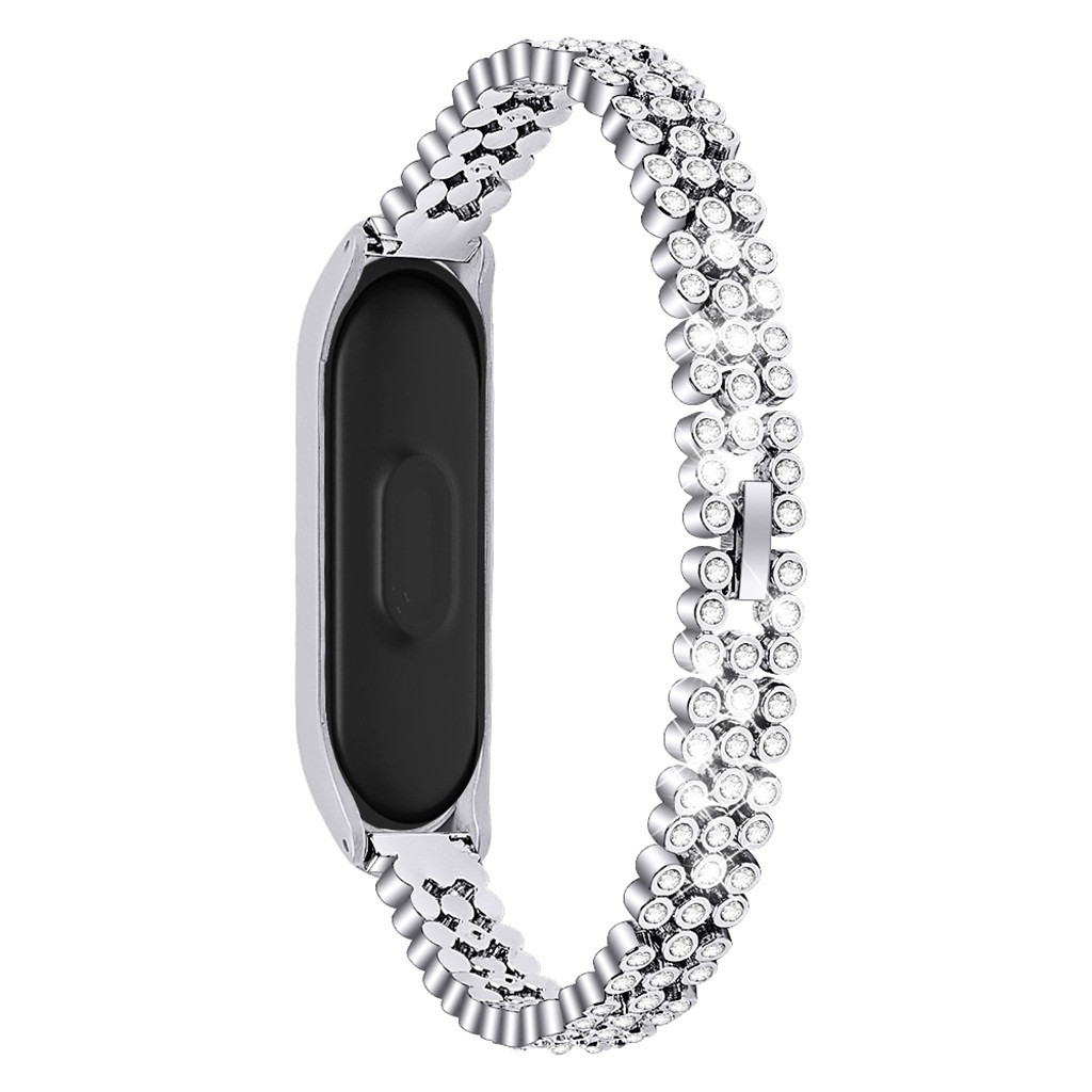 CARPRIE Smart Accessories Watch Strap For Xiaomi Mi Band 4 Replacement Diamonds Stainless Steel Watch Band Strap Bracelet