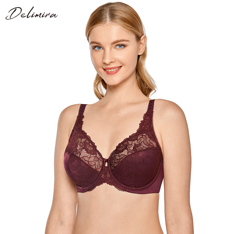 Underwire Bra Full Coverage Plus Size Minimizer Padded Comfortable Lace Figure