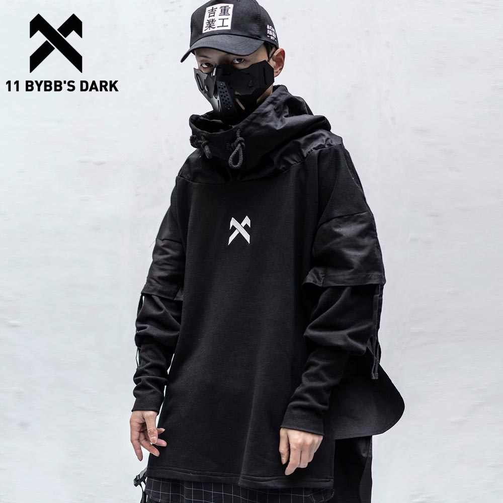 11 Bybb's Dark Japanse Streetwear Man Hoodies Hip Hop Embroideried Trui Patchwork Nep Twee Darkwear Tops Techwear Hoodies