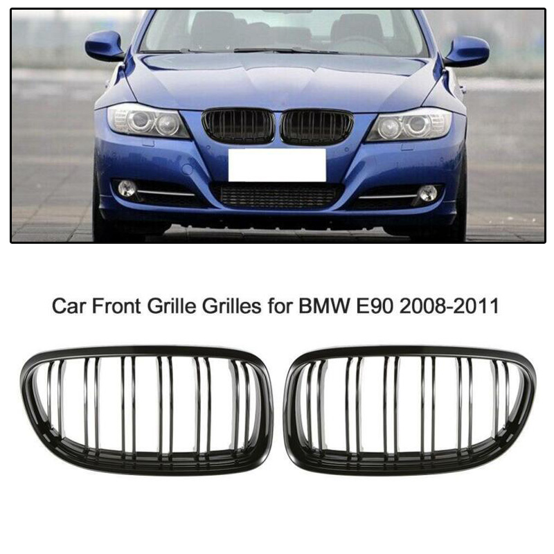 2pcs Gloss Black Front Grille Kidney Grill Double ABS For BMW E90 E91 2006 2008 Accessory ABS Black Worn grilles|Front & Radiator Grills| |  - title=
