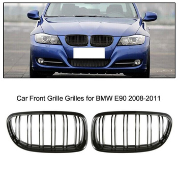 2pcs Gloss Black Front Grille Kidney Grill Double ABS For BMW E90 E91 2006-2008 Accessory ABS Black Worn grilles