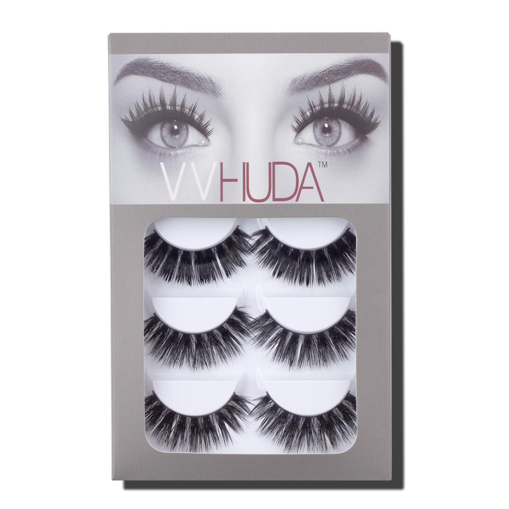VVHUDA Mink Eyelashes Fake Lashes 3D Extension 100% Handmade 5 Pack Natural False Crisscross Voluminous Makeup Medium Cruelty