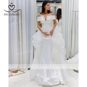 Image 5 - Mode 2 In 1 Trouwjurk Satin Mermaid Off Shoulder Afneembare Trein Bruid Gown Prinses Swanskirt F139 Vestido De Noiva
