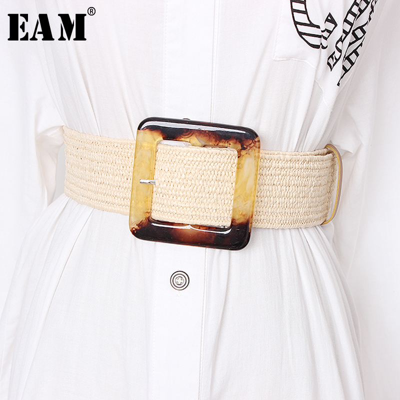 [EAM]  Retro Square Buckle Wide Adjustable Simple Belt Personality Women New Fashion Tide All-match Spring Autumn 2020 JZ159