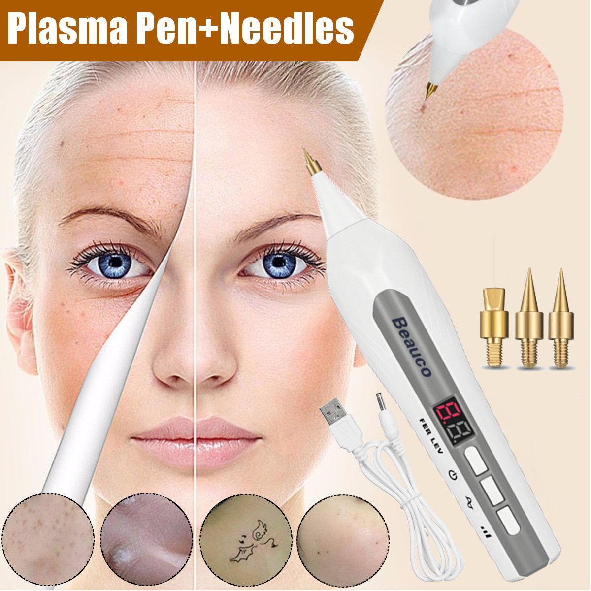 Fibroblast <font><b>Plasma</b></font> <font><b>Pen</b></font> for Face <font><b>Eyelid</b></font> <font><b>Lift</b></font> Wrinkle <font><b>Removal</b></font> Spot <font><b>Removal</b></font> Plasmapen Skin <font><b>Lift</b></font> Usb 4 Files Adjustable 2019 Newest image